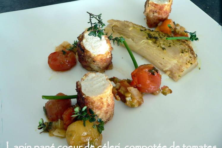 Lapin pané, coeur de céleri et compotée de tomates
