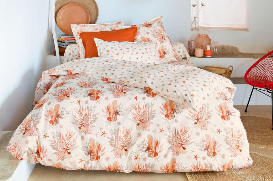 Linge de lit corail