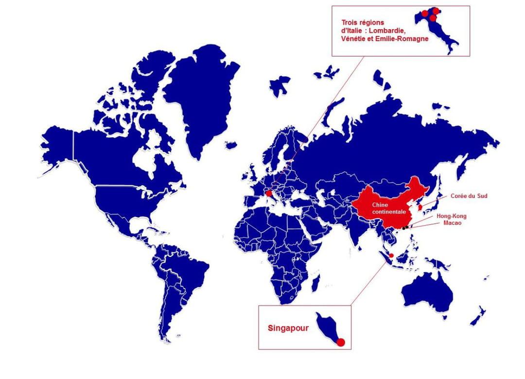 Carte des coronavirus Italie: contagion et zones les plus touchées. Zones dangereuses