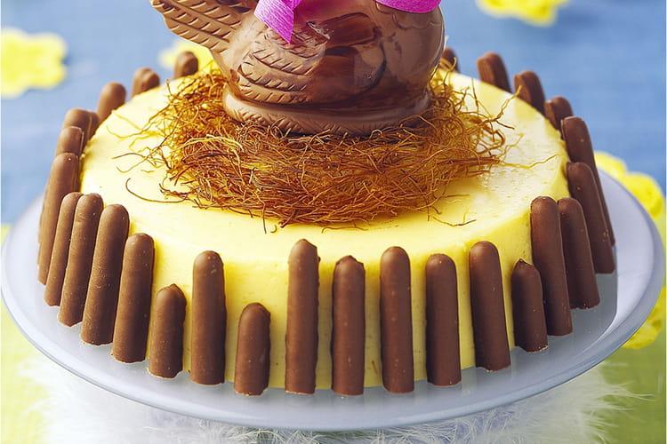 Bavarois et poule en chocolat au nid