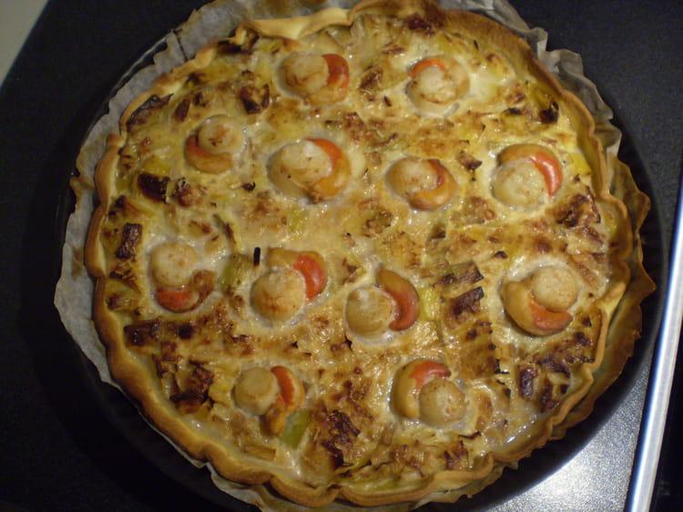 Recette de tarte aux poireaux et noix de saint jacques la recette facile - Tarte aux poireaux sans creme ...