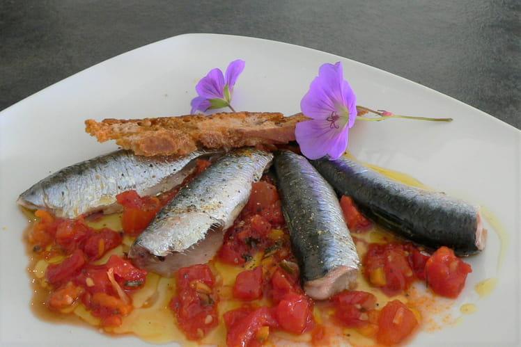 Petites sardines cuisson douce, concassé de tomates en vinaigrette