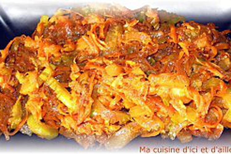 Wok de courgettes, carottes et céleri