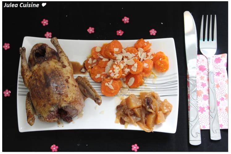 Pigeonneaux rotis laqués au gingembre, carottes confites et chutney de poires aux raisins