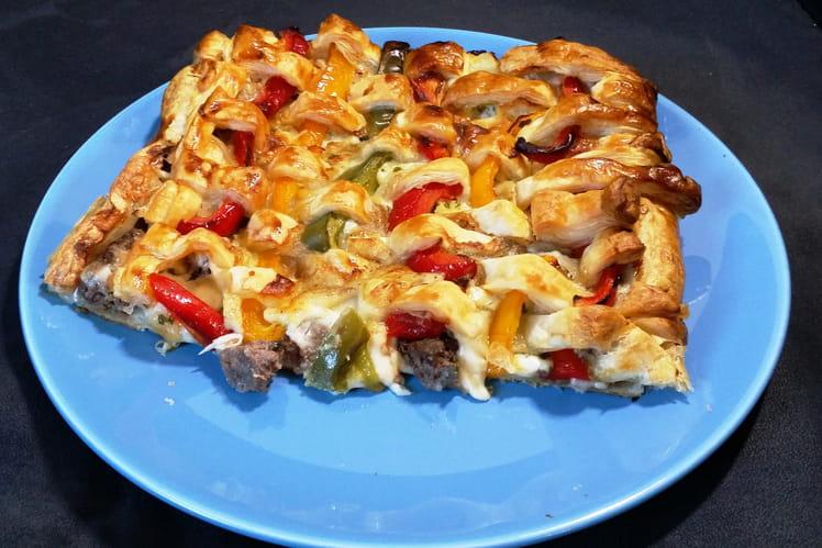 Feuilleté bœuf, mozzarella et poivron