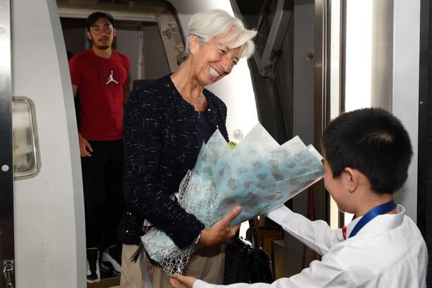 La présidente du FMI Christine Lagarde arrive en Chine