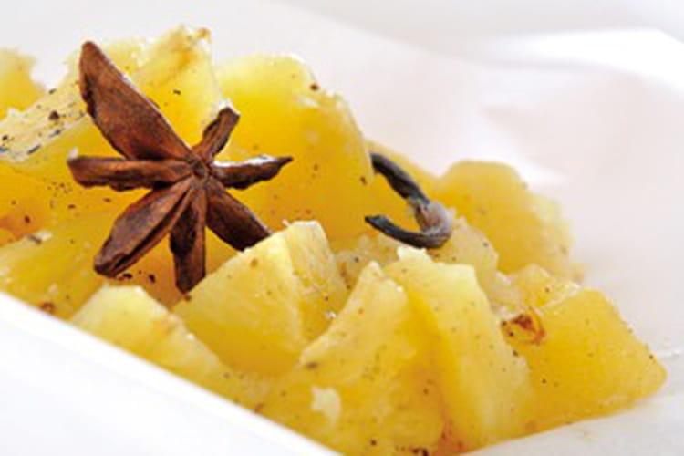 Papillote d'ananas aux épices