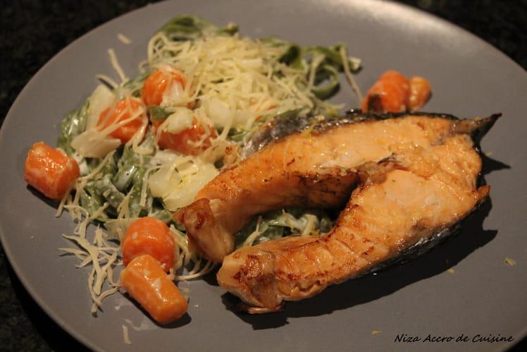 Darnes de saumon au fenouil et carottes fanes
