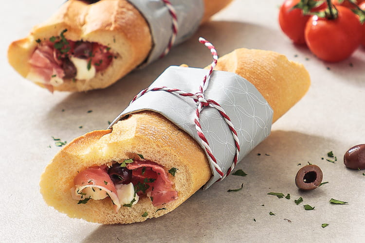 Sandwich tomates, mozzarella et jambon de Parme