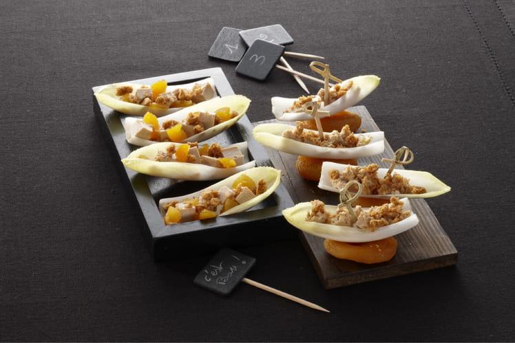 Endives apéritives au foie gras et spéculoos