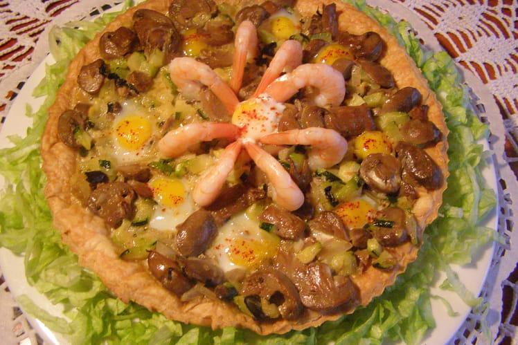 Tarte crevettes, courgettes et champignons