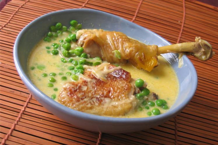 Fricassée de poulet crémeuse aux petits pois