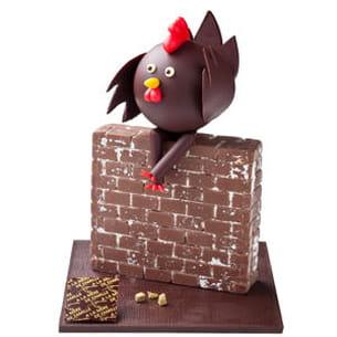 une poule sur un mur d'a la mère de famille