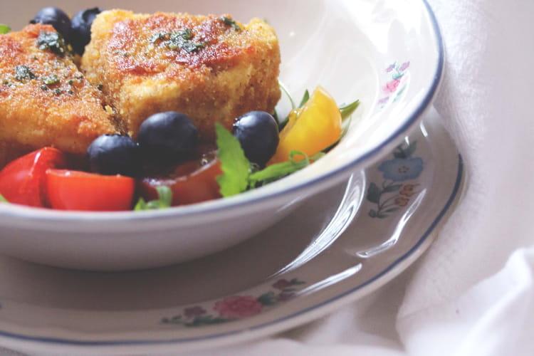 Fromage pané aux amandes et Salade de roquette/myrtilles