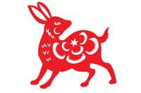 Année 1999 : le Lapin Horoscope Chinois gris clair Fève du MH