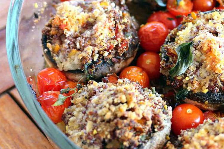 Champignons de Paris farcis au quinoa rouge bio