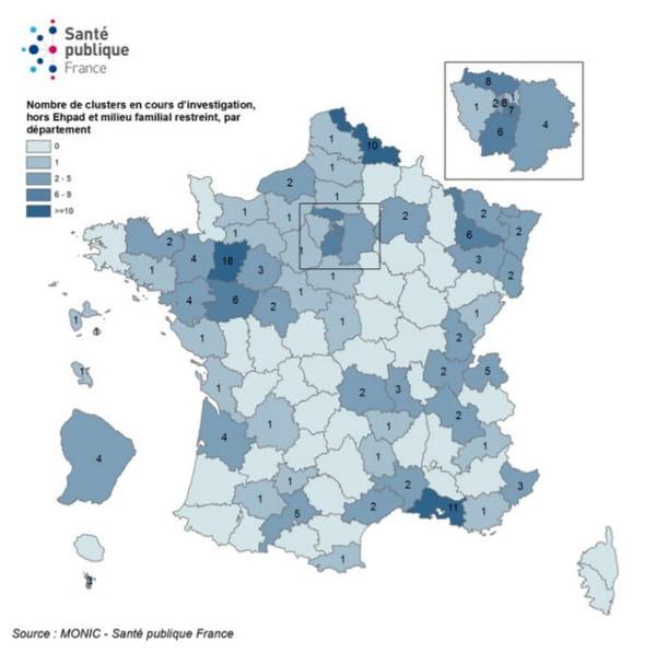 Répartition des clusters (hors Ehpad et milieu familial restreint) en cours d'investigation par département, inclus entre le 9 mai et le 04 août 2020