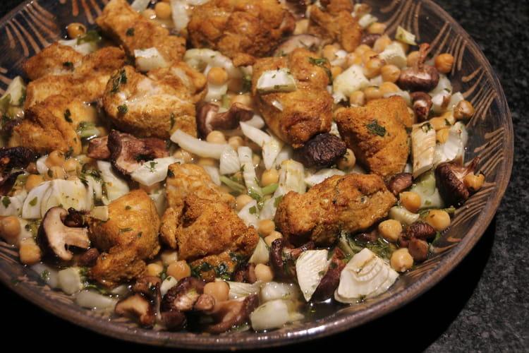 Poulet rôti au fenouil, pois chiches et shiitakés