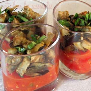 verrines de confiture de tomates et aubergines au cumin