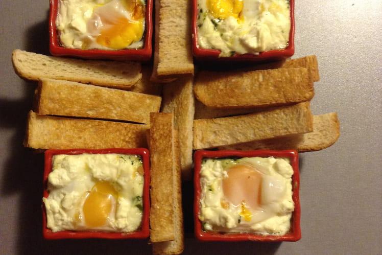 Cassolettes d'oeufs  aux épinards