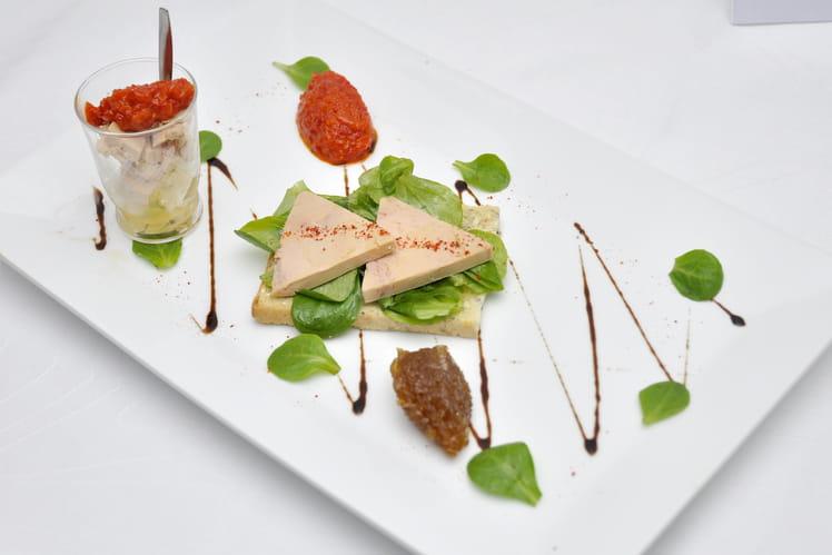 Tartine de foie gras et sa verrine du Sud-Ouest