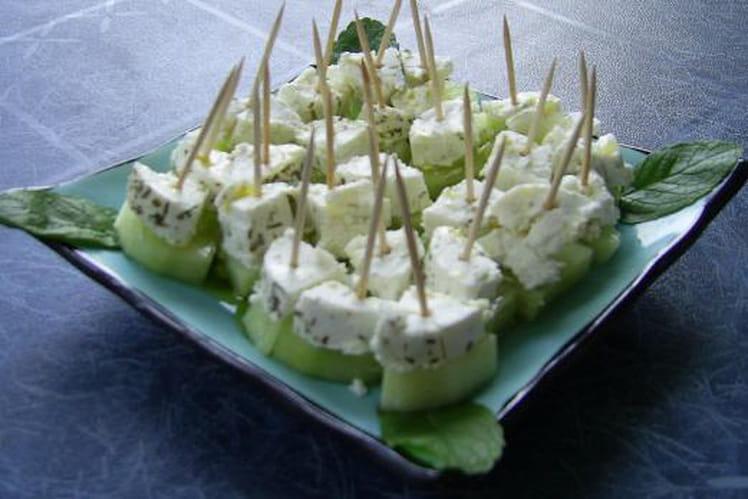 Bouchées fraîches chèvre-concombre