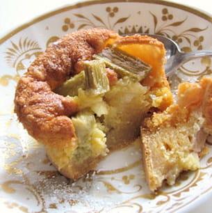 mini clafoutis fondants à la rhubarbe et au gingembre