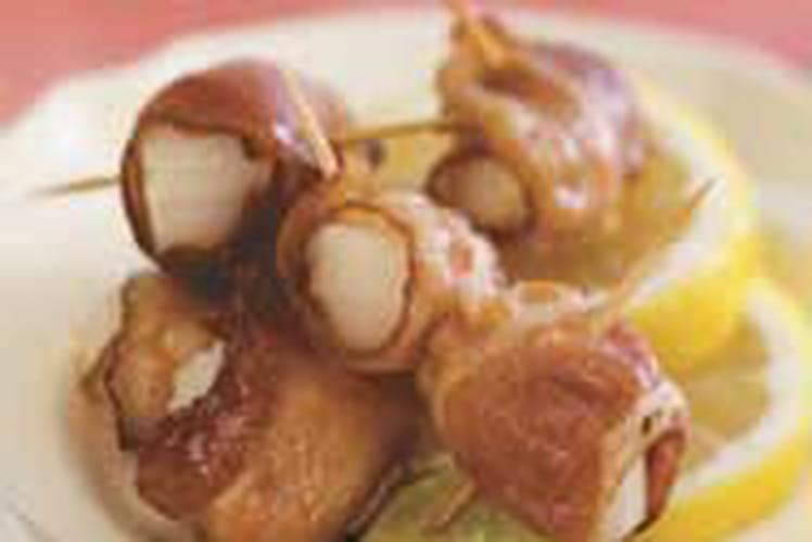 Roulés de pétoncles au jambon cru
