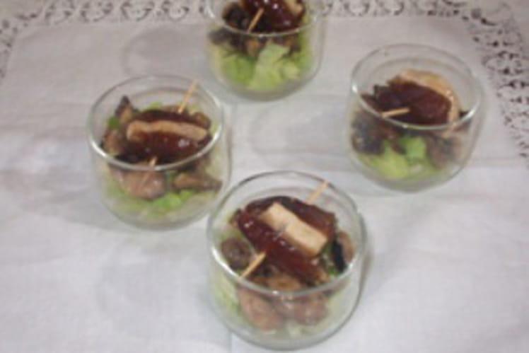Verrines fraicheur et brochettes poulet aux dattes
