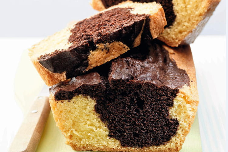 Cake marbré au cacao et sucre vanillé