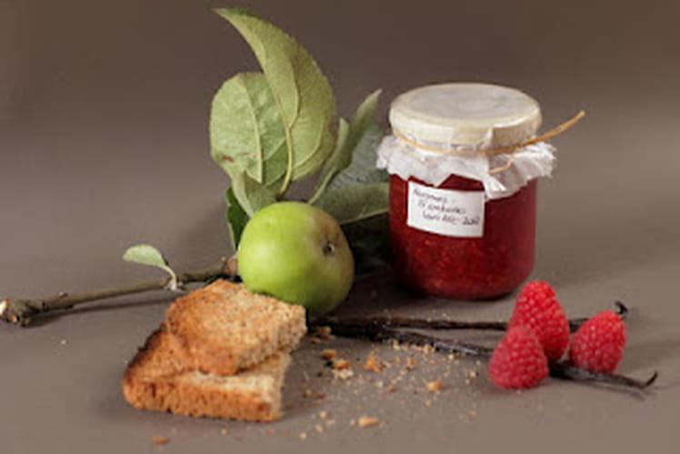 Confiture légère pommes - framboises vanillée
