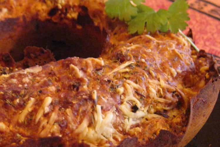 Cake aux olives, jambon et lardons fumés