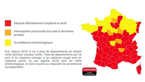 Carte de présence du moustique tigre en France (2021)