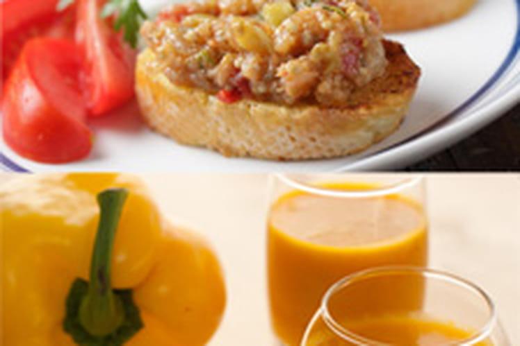 Soupe froide de poivron doux & épices  accompagnée de sa tartine au caviar d'aubergine
