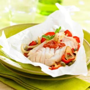 papillotes de cabillaud à la provençale et salsa aux épices