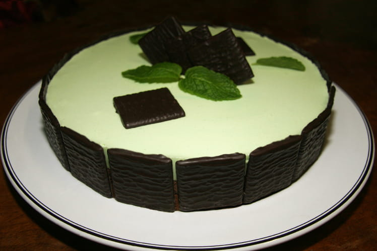 Entremets menthe-chocolat façon After Eight