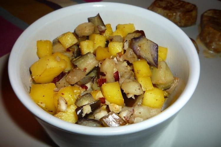 Wok mangues et aubergines