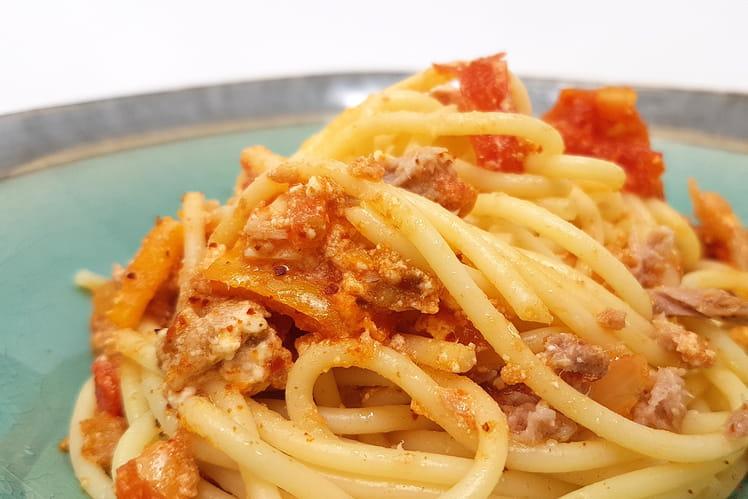 Spaghettis tomates, thon et brandade