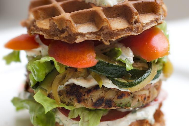 Gaufres en burger végétarien