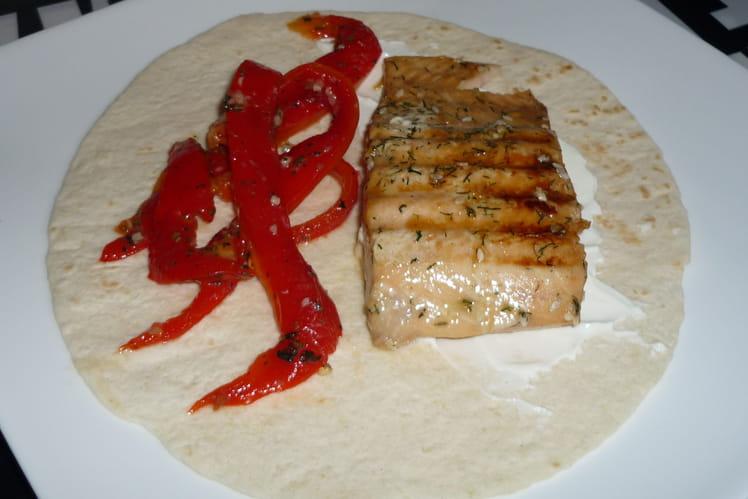 Grillade de saumon mariné et ses poivrons à la plancha