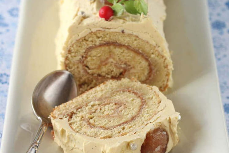 Bûche pâtissière à la vanille et marrons