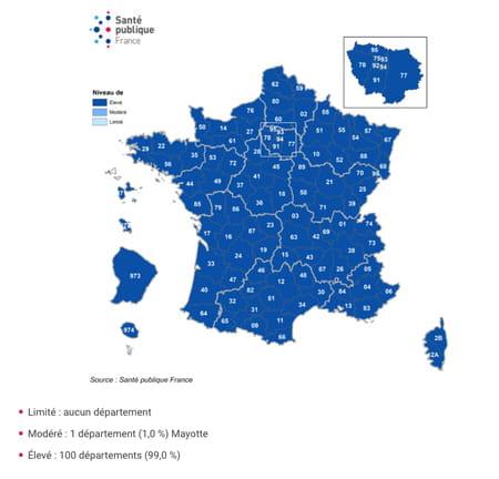 Niveau de vulnérabilité par département et évolution, France, au 30 décembre 2020
