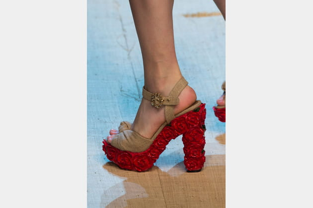 Les sandales à talons fleuris du défilé Dolce & Gabbana