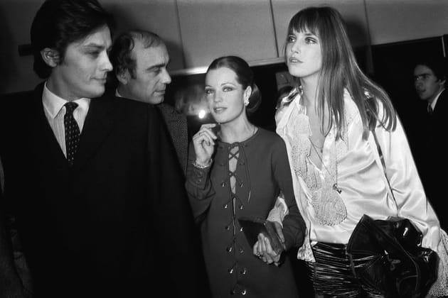 """Avec Alain Delon et Romy Schneider à la première de """"La Piscine"""", 1969"""