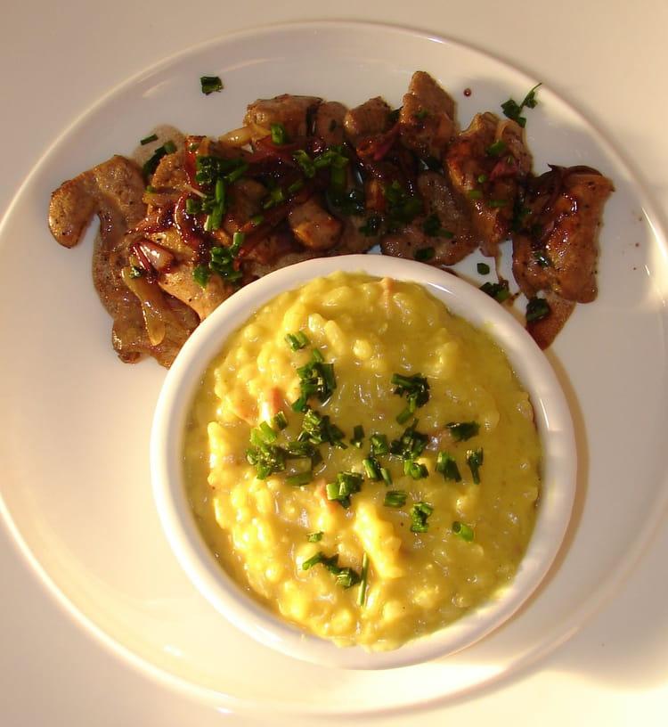 Recette de foie de veau et son risotto au safran et lardons la recette facile - Cuisiner le foie de veau ...