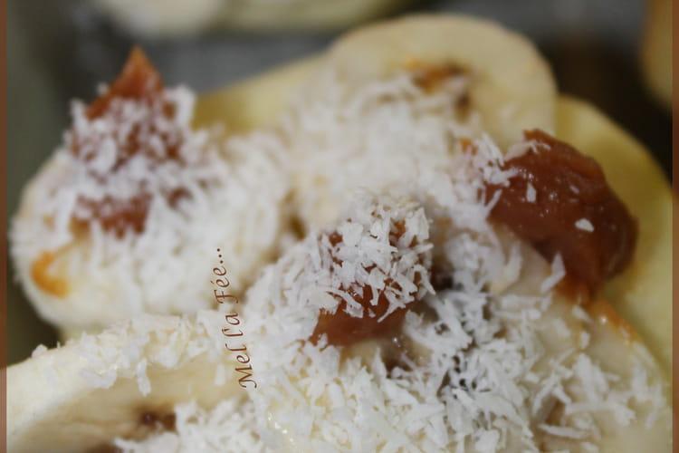Pomme banane coco caramel au four