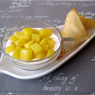 verrines ricotta-mangue et ses croustillants