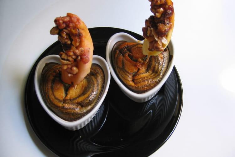 Brochettes pommes-noix, caramel de betterave