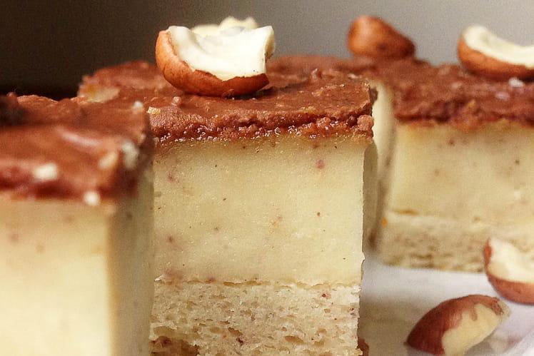 Gâteau magique en carré aux noisettes Gianduja