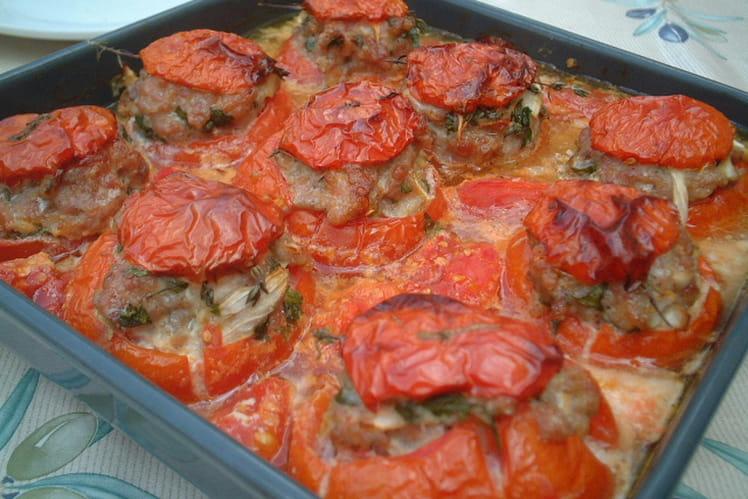 Tomates farcies aux trois poissons